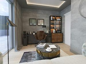 NOWOCZESNE MIESZKANIE Z PUSTKĄ NAD SUFITEM - Średnie szare biuro domowe kącik do pracy w pokoju, styl nowoczesny - zdjęcie od VIVINO Studio