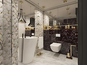 PRAWDZIWY PENTHOUSE WE WŁOSKIM KLIMACIE - Mała czarna szara łazienka w bloku w domu jednorodzinnym bez okna, styl art deco - zdjęcie od VIVINO Studio
