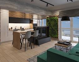 DWUPOZIOMOWE LOFTOWE MIESZKANIE DLA DWOJGA - Średnia otwarta biała kuchnia dwurzędowa w aneksie z oknem, styl industrialny - zdjęcie od VIVINO Studio