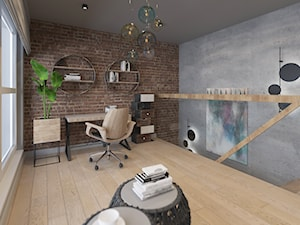 DWUPOZIOMOWE LOFTOWE MIESZKANIE DLA DWOJGA - Średnie szare biuro domowe w pokoju, styl industrialny - zdjęcie od VIVINO Studio