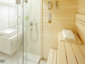 Łazienka 6,5m2! _sauna_wc_bidet_umywalka_kabina_ - Mała beżowa łazienka na poddaszu w bloku w domu jednorodzinnym bez okna, styl nowoczesny - zdjęcie od idsgn paulina olbrychowska