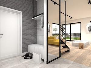 Średni biały szary hol / przedpokój, styl minimalistyczny - zdjęcie od przearchitekci