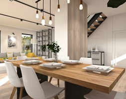 Lake house interior. - Średnia otwarta biała jadalnia w kuchni w salonie, styl skandynawski - zdjęcie od przearchitekci