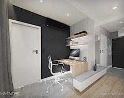 HARMONIJNIE - Duże czarne szare biuro kącik do pracy, styl nowoczesny - zdjęcie od INVENTIVE studio