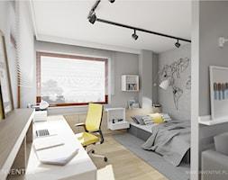 ŻÓŁTY AKCENT- pokój młodzieżowy - Średni szary pokój dziecka dla chłopca dla dziewczynki dla ucznia dla nastolatka, styl nowoczesny - zdjęcie od INVENTIVE studio
