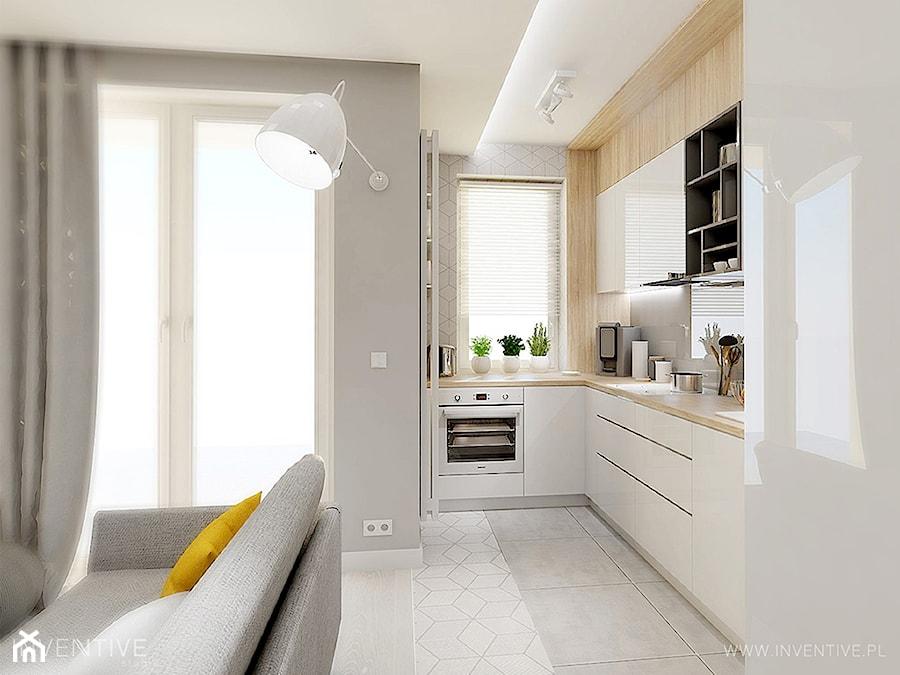 GEOMETRYCZNIE z pastelową nutą - Średnia otwarta szara kuchnia w kształcie litery u w aneksie z oknem, styl nowoczesny - zdjęcie od INVENTIVE studio
