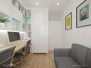 MIESZKANIE DWUPOZIOMOWE z miętowym akcentem - Małe białe biuro domowe w pokoju, styl nowoczesny - zdjęcie od INVENTIVE studio
