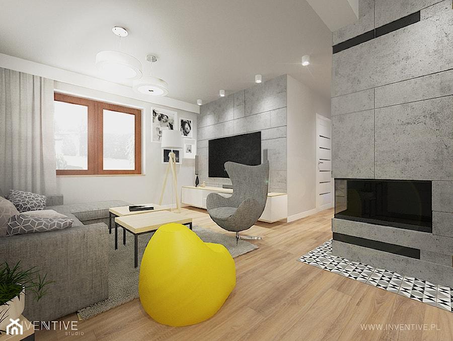 PROJEKT DOMU - Średni szary salon, styl industrialny - zdjęcie od INVENTIVE studio
