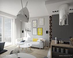 MĘSKI PUNKT WIDZENIA - Średni biały salon z barkiem z kuchnią z jadalnią z tarasem / balkonem, styl minimalistyczny - zdjęcie od INVENTIVE studio