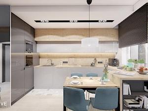 Warszawa Wilanów - Średnia otwarta biała kuchnia w kształcie litery g w aneksie z oknem, styl nowoczesny - zdjęcie od INVENTIVE studio
