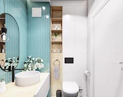 Warszawa Wilanów - Mała biała niebieska szara łazienka bez okna, styl nowoczesny - zdjęcie od INVENTIVE studio