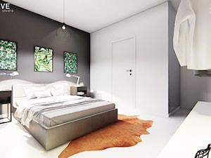 GDYNIA - Średnia szara czarna sypialnia małżeńska, styl minimalistyczny - zdjęcie od INVENTIVE studio
