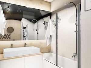 MIESZKANIE WOLA - Średnia łazienka w bloku w domu jednorodzinnym bez okna, styl nowoczesny - zdjęcie od INVENTIVE studio