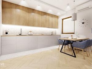 WARSZAWA Wilanów - Średnia otwarta biała beżowa kuchnia w kształcie litery l w aneksie z oknem, styl nowoczesny - zdjęcie od INVENTIVE studio