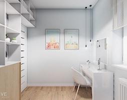 MIESZKANIE WOLA - Średnie szare białe biuro domowe kącik do pracy w pokoju, styl skandynawski - zdjęcie od INVENTIVE studio