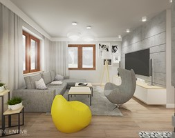 PROJEKT DOMU - Mały szary salon, styl industrialny - zdjęcie od INVENTIVE studio