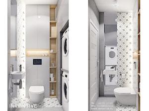 KOBYŁKA - Mała szara łazienka w bloku w domu jednorodzinnym bez okna, styl nowoczesny - zdjęcie od INVENTIVE studio