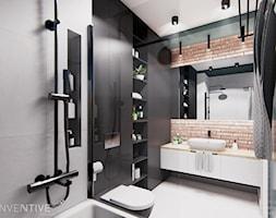 WARSZAWA URSYNÓW - Średnia czarna szara łazienka w bloku w domu jednorodzinnym bez okna, styl nowoczesny - zdjęcie od INVENTIVE studio