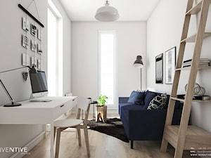Żoli Żoli - Małe białe biuro kącik do pracy w pokoju, styl minimalistyczny - zdjęcie od INVENTIVE studio