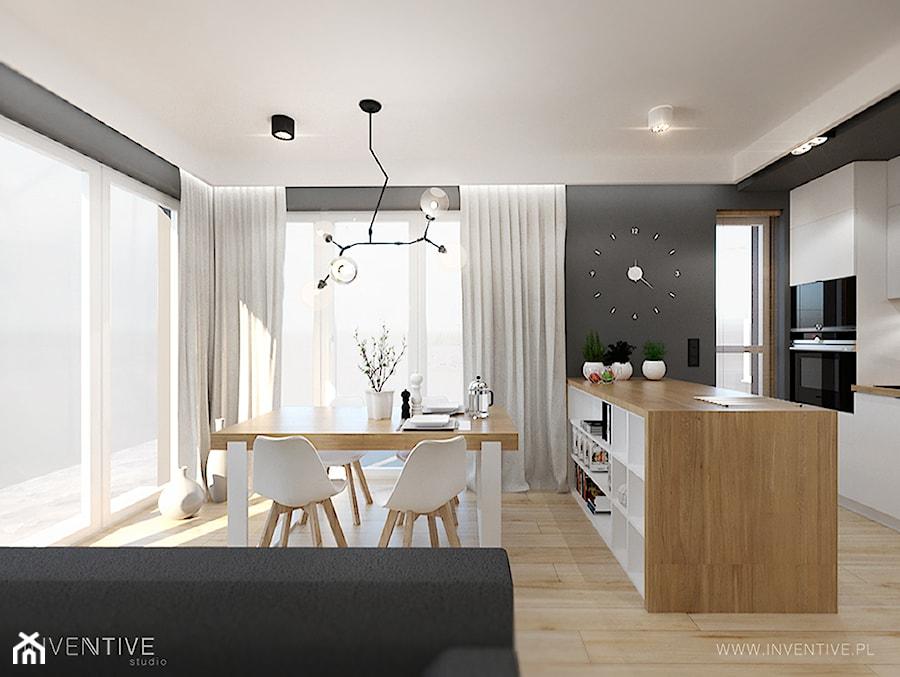 MYSŁOWICE - Średnia otwarta szara jadalnia w kuchni w salonie, styl nowoczesny - zdjęcie od INVENTIVE studio