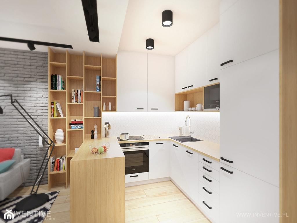KONTRASTY - Średnia otwarta biała kuchnia w kształcie litery u w aneksie, styl nowoczesny - zdjęcie od INVENTIVE studio - Homebook