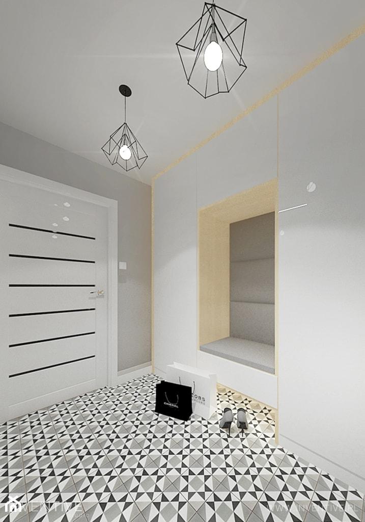 PROJEKT DOMU - Duży szary hol / przedpokój, styl industrialny - zdjęcie od INVENTIVE studio