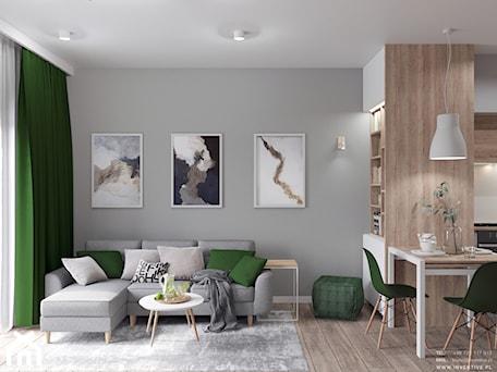 Aranżacje wnętrz - Salon: MARKI - Średni szary salon z jadalnią, styl minimalistyczny - INVENTIVE studio. Przeglądaj, dodawaj i zapisuj najlepsze zdjęcia, pomysły i inspiracje designerskie. W bazie mamy już prawie milion fotografii!