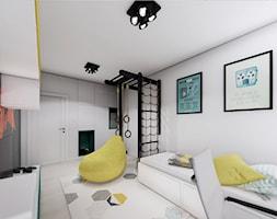 MIESZKANIE URSUS - dwa poziomy - Duży biały czarny pokój dziecka dla chłopca dla ucznia dla nastolatka, styl nowoczesny - zdjęcie od INVENTIVE studio