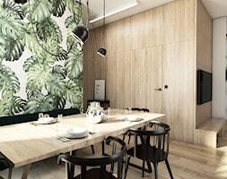 Żoli Żoli - Duża otwarta biała beżowa zielona jadalnia w salonie, styl minimalistyczny - zdjęcie od INVENTIVE studio