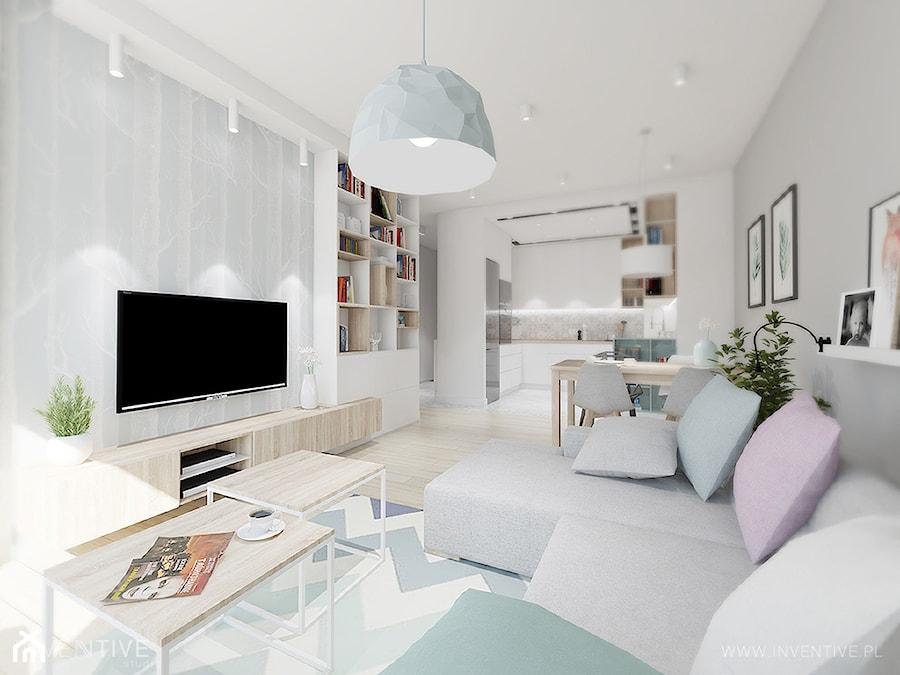 Aranżacje wnętrz - Salon: pasteLOVE - Duży biały salon z kuchnią z jadalnią, styl skandynawski - INVENTIVE studio. Przeglądaj, dodawaj i zapisuj najlepsze zdjęcia, pomysły i inspiracje designerskie. W bazie mamy już prawie milion fotografii!