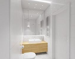 PRZYTULNY MINIMALIZM - Mała biała łazienka na poddaszu w bloku w domu jednorodzinnym bez okna, styl minimalistyczny - zdjęcie od INVENTIVE studio