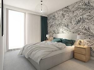 WARSZAWA ŻOLIBORZ - Średnia biała sypialnia małżeńska z balkonem / tarasem, styl nowoczesny - zdjęcie od INVENTIVE studio