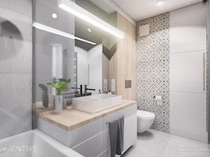 MIESZKANIE KRAKÓW - Średnia biała łazienka w bloku w domu jednorodzinnym bez okna, styl minimalistyczny - zdjęcie od INVENTIVE studio