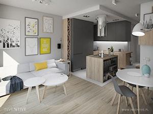 MĘSKI PUNKT WIDZENIA - Mała otwarta wąska biała kuchnia w kształcie litery g z wyspą, styl minimalistyczny - zdjęcie od INVENTIVE studio
