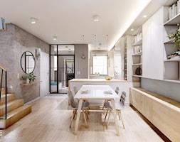 DOM BIAŁOŁĘKA - Średnia otwarta szara jadalnia w kuchni w salonie, styl nowoczesny - zdjęcie od INVENTIVE studio