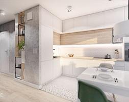 MIESZKANIE KRAKÓW - Średnia biała kuchnia w kształcie litery l w aneksie z oknem, styl minimalistyczny - zdjęcie od INVENTIVE studio