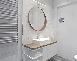 PATCHWORKOWY AKCENT - Średnia szara łazienka w bloku w domu jednorodzinnym bez okna, styl rustykalny - zdjęcie od INVENTIVE studio