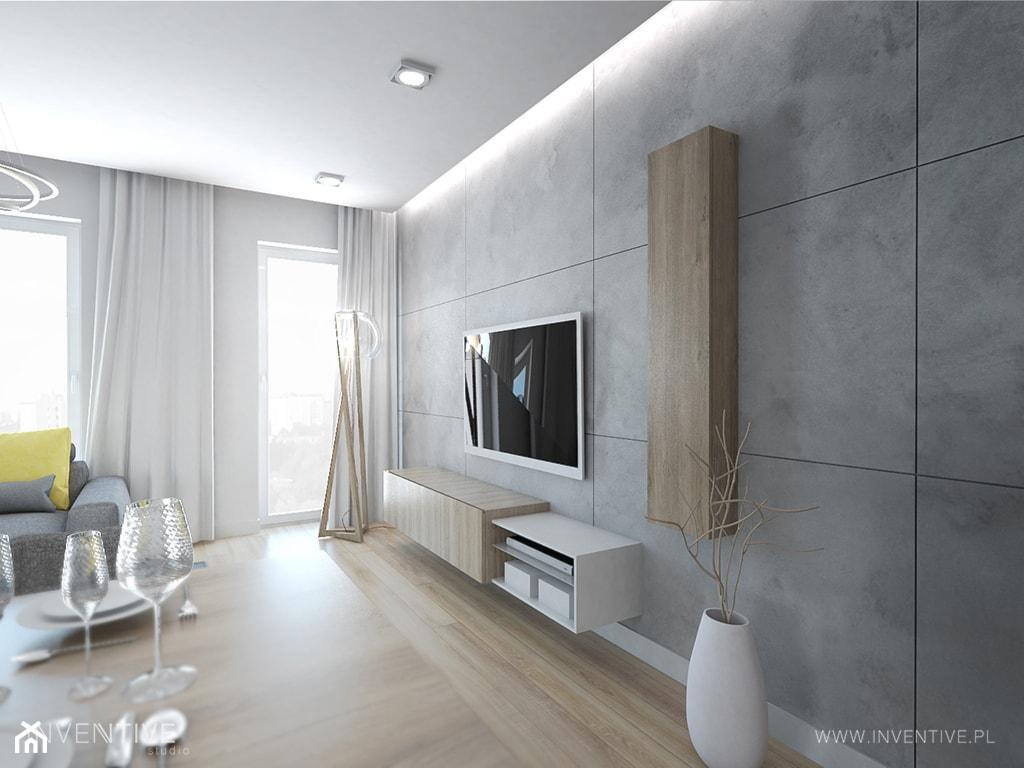 WESOŁY MINIMALIZM - Mały szary biały salon, styl minimalistyczny - zdjęcie od INVENTIVE studio - Homebook
