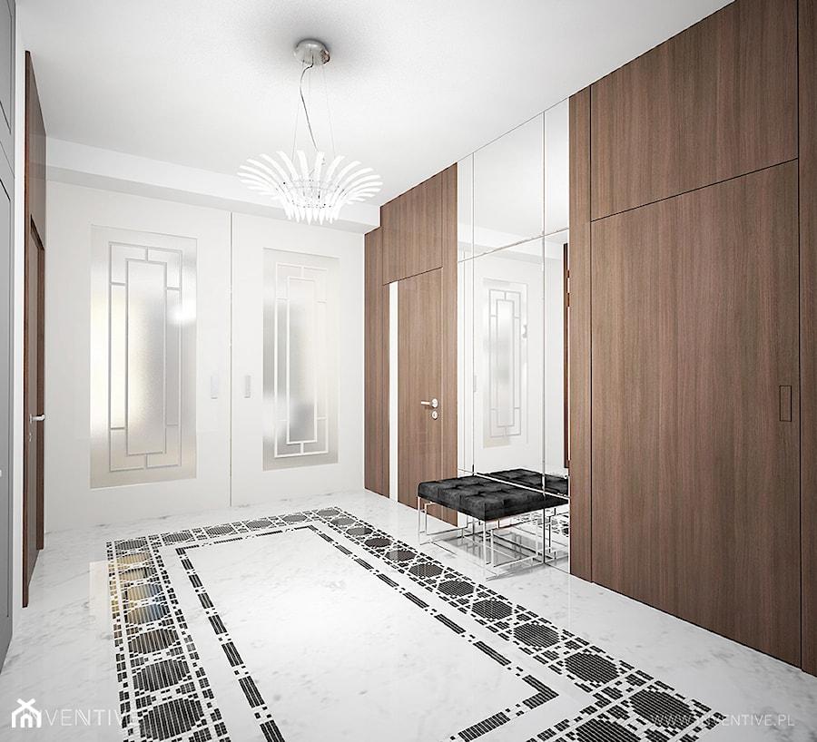 ART DECO - Duży biały hol / przedpokój, styl art deco - zdjęcie od INVENTIVE studio