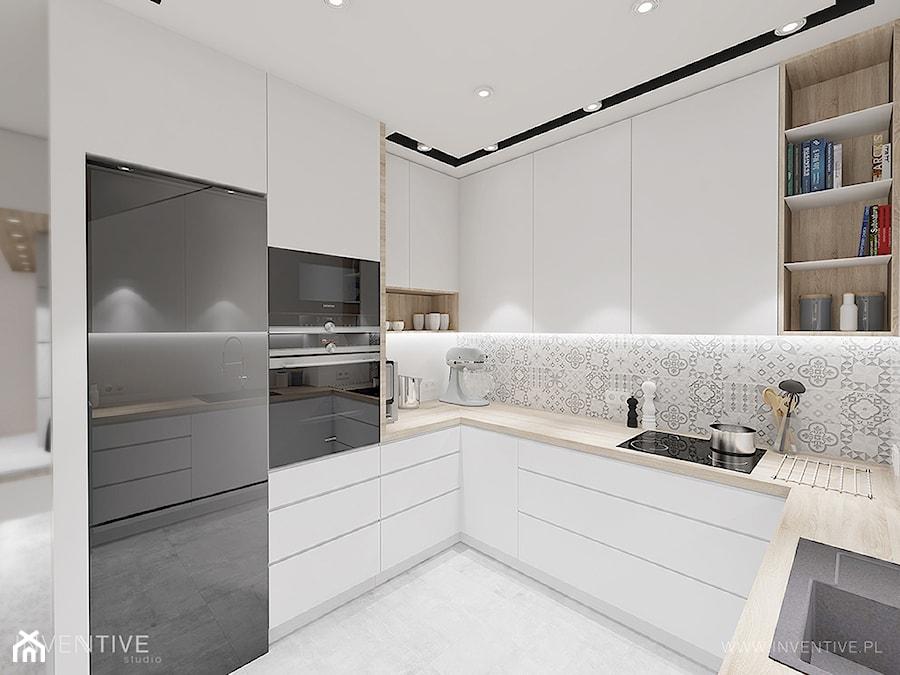 pasteLOVE - Średnia zamknięta biała kuchnia w kształcie litery u, styl skandynawski - zdjęcie od INVENTIVE studio