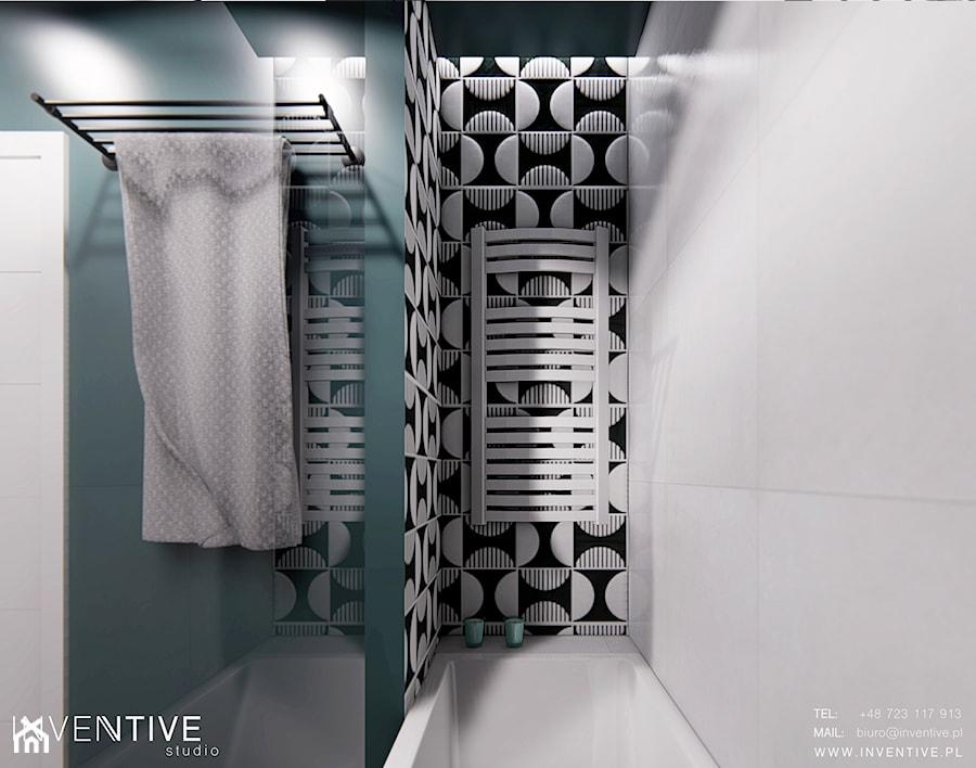 Aranżacje wnętrz - Łazienka: WARSZAWA URSYNÓW - Mała zielona łazienka w bloku w domu jednorodzinnym bez okna, styl nowoczesny - INVENTIVE studio. Przeglądaj, dodawaj i zapisuj najlepsze zdjęcia, pomysły i inspiracje designerskie. W bazie mamy już prawie milion fotografii!