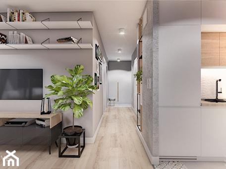 Aranżacje wnętrz - Salon: MIESZKANIE KRAKÓW - Średni szary salon z bibiloteczką z kuchnią, styl minimalistyczny - INVENTIVE studio. Przeglądaj, dodawaj i zapisuj najlepsze zdjęcia, pomysły i inspiracje designerskie. W bazie mamy już prawie milion fotografii!