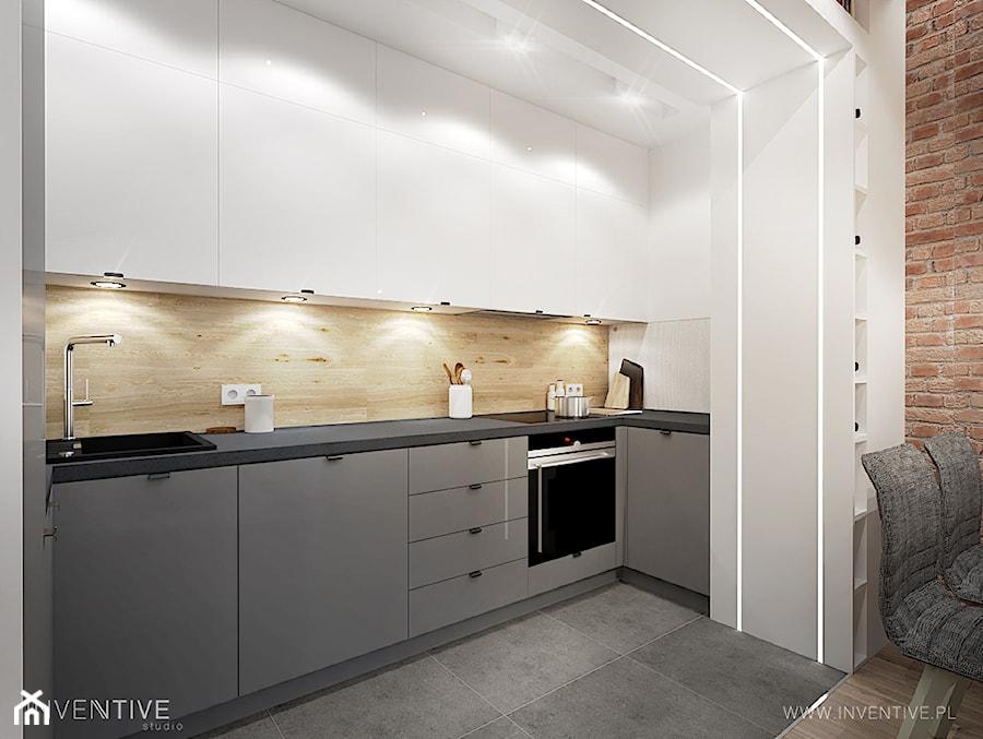 WARSZAWA MURANÓW - Średnia otwarta szara kuchnia w kształcie litery u, styl nowoczesny - zdjęcie od INVENTIVE studio