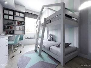 MIESZKANIE 70m2 w Łodzi - Średni biały szary zielony pokój dziecka dla chłopca dla dziewczynki dla rodzeństwa dla ucznia dla malucha dla nastolatka, styl minimalistyczny - zdjęcie od INVENTIVE studio