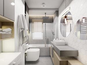 MIESZKANIE REMBERTÓW - Średnia szara łazienka w bloku w domu jednorodzinnym z oknem, styl minimalistyczny - zdjęcie od INVENTIVE studio