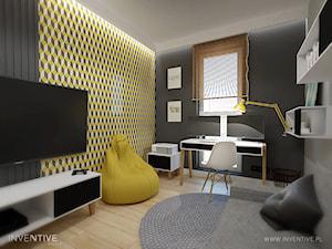 MYSŁOWICE - Średnie szare żółte biuro domowe kącik do pracy w pokoju, styl nowoczesny - zdjęcie od INVENTIVE studio