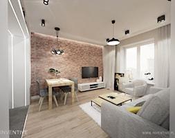 WARSZAWA MURANÓW - Średni biały brązowy salon z jadalnią, styl tradycyjny - zdjęcie od INVENTIVE studio