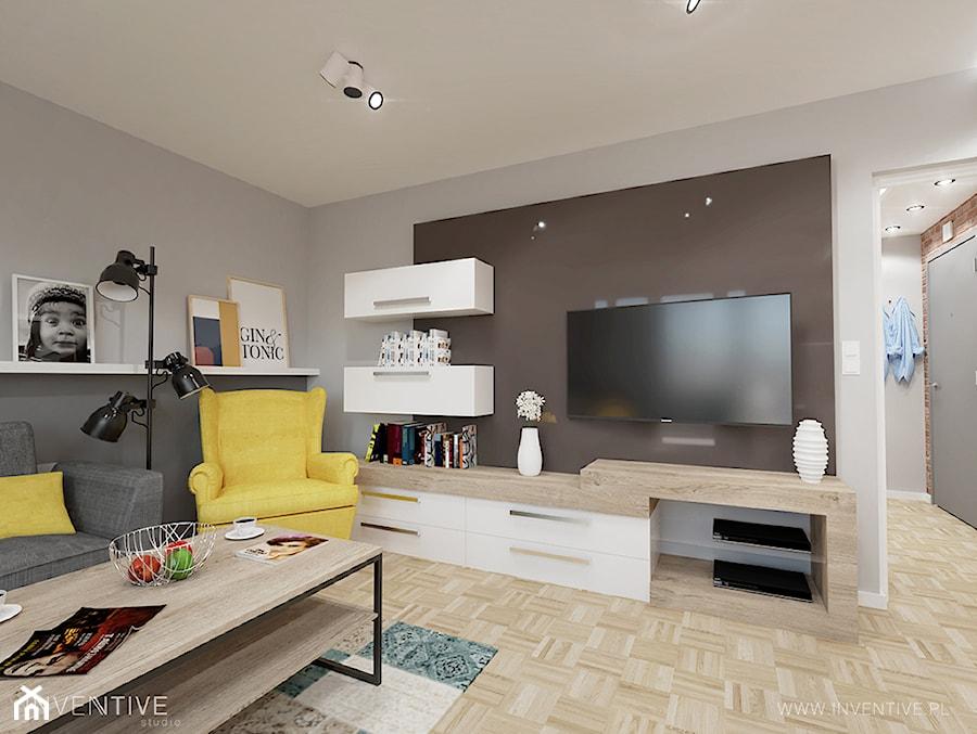 RETRO AKCENTY - Średni szary salon z bibiloteczką, styl nowoczesny - zdjęcie od INVENTIVE studio
