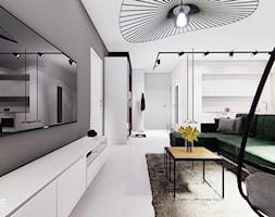 GDYNIA - Średni szary biały salon z kuchnią z jadalnią, styl minimalistyczny - zdjęcie od INVENTIVE studio