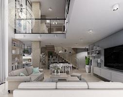 MIESZKANIE URSUS - dwa poziomy - Duży szary biały salon z bibiloteczką z kuchnią z jadalnią z tarasem / balkonem, styl nowoczesny - zdjęcie od INVENTIVE studio